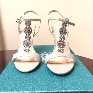 Betsey Johnson Embellished Silver Sandals